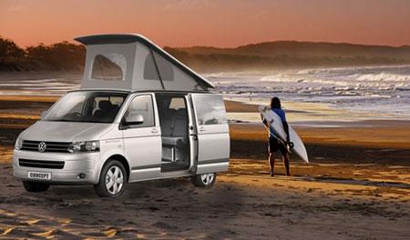 VW T6 mieten - Surfer mit VW T6 am Meer