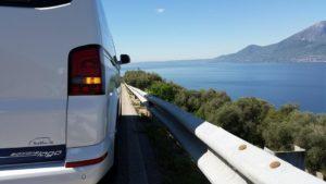 Blick auf den Gardasee, natürlich mit Bus