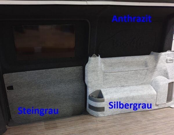 3 Muster Innenausbau B4f Carpet-Filz in Anthrazit, Steingrau und Silbergrau