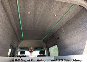 VW Crafter mit B4f Carpet-Filz verkleidet und LED-Leisten verziert