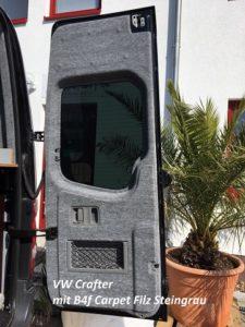 VW Crafter Rücktür verkleidet mit B4f Carpet-Filz Steingrau