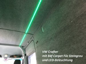 LED-Beleuchtung und B4f Carpet-Filz Steingrau im VW Crafter