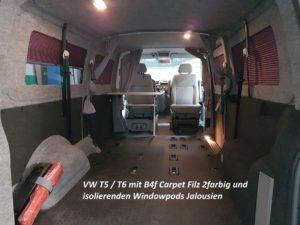 Isolierte Windowpods mit B4f Carpet-Filz Steingrau und Anthrazit