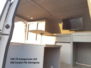 B4f Carpet-Filz Verkleidung im Campern in Steingrau