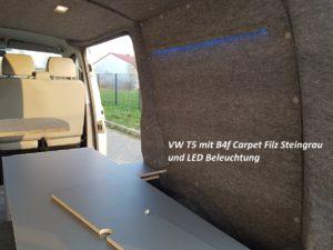 VW T5 Camper mit LED und B4f Carpet-Filz verkleidet