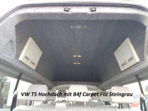 Hochdach VW T5 Verkleidung B4f Carpet-Filz steingrau