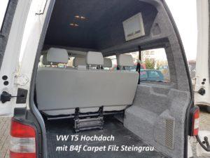 VW T5 Hochdach und Seitenverkleidung mit B4f Carpet-Filz steingrau