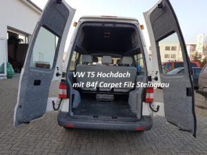 VW T5 Hochdach und Klapptüren mit B4f Carpet-Filz verkleidet