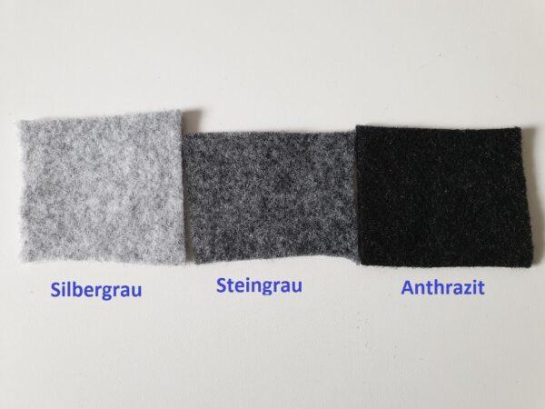 3 Muster B4F Carpet-Filz in Silbergrau, Anthrazit und Steingrau