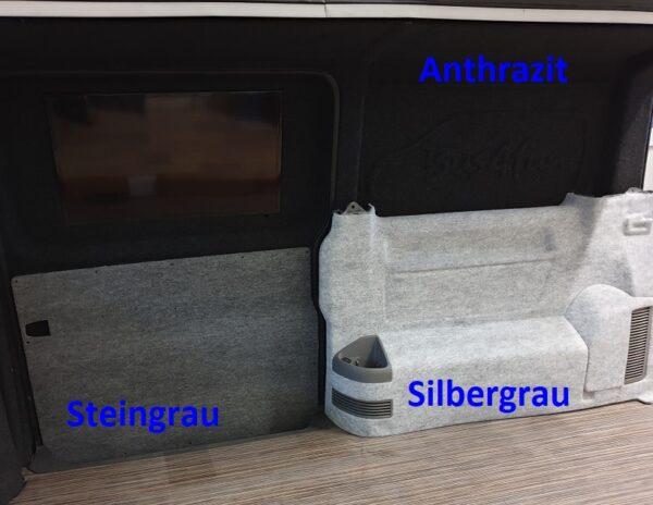 Muster Innenausbau B4f Carpet-Filz in Anthrazit, Steingrau und Silbergrau