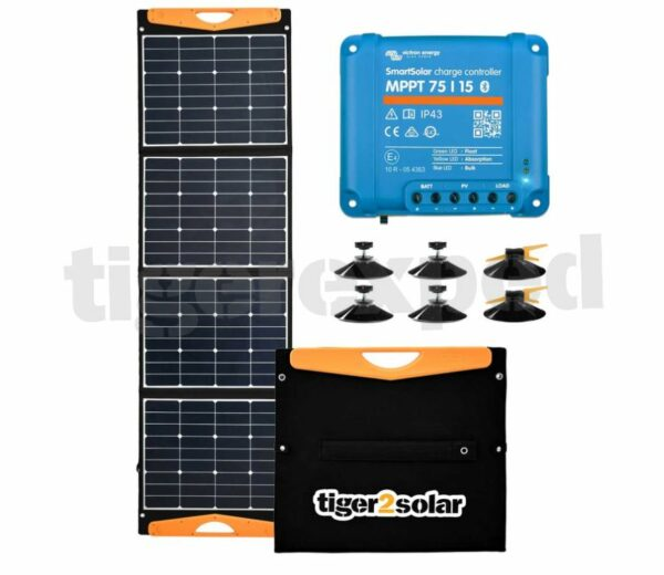 Solartasche 24V geeignet(!) mit MPPT Laderegler USB Anschlüssen + Zubehör - Schattenparker-Kit big tiger TRUCK EDITION 160Wp tigerexped Bus4fun.de